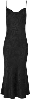 Bec & Bridge The Kat Black Tiger-jacquard Midi Dress
