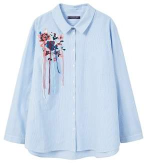 Violeta BY MANGO Embroidery striped shirt