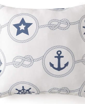 """Colcha Linens Nautical Board Square Cushion - White Background with Blue Nautical 20""""x20"""" Bedding"""