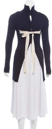 Celine Tie-Accented Rib Knit Cardigan
