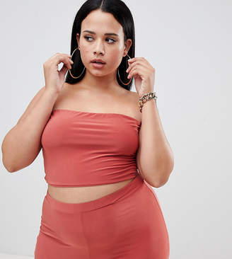 Fashionkilla Plus longline bandeau boobtube Two-piece in tobacco