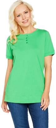 Denim & Co. Essentials Button Henley Short Sleeve Tunic