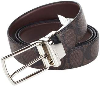Coach Heritage Signature Coated Canvas Reversible Belt 64825