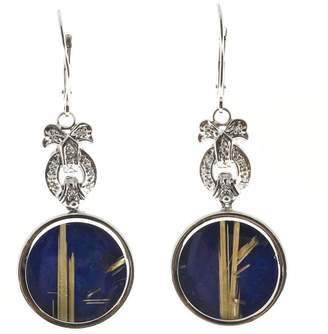 Vintage Art Deco 14K White Gold Rutile Quartz, Diamonds & Lapis Euro Wire Bow Motif Dangle Earrings