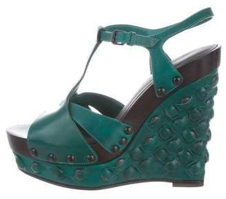 bb95cc428ef Bottega Veneta Leather Platform Wedge Sandals