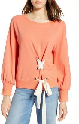 Halogen Lace-Up Sweatshirt