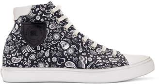 Saint Laurent Black and White Skull Bedford Sneakers
