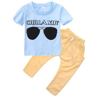 Magical Baby Baby Boys Short Sleeve Sunglasses Print T-shirt and Elastic Pants Outfit