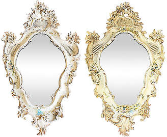 One Kings Lane Vintage Large Carved Ventian Mirrors - Set of 2 - House of Charm Antiques