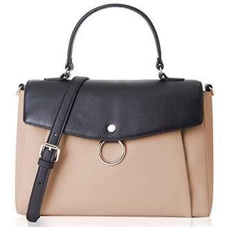 Co The Lovely Tote Women's Genuine Leather Color Block Satchel Business Crossbody Handbag