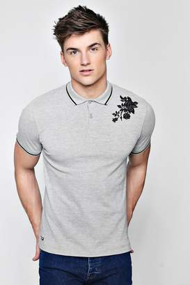 boohoo Jersey Polo With Embroidered Rose