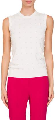 Givenchy Crewneck Embellished Sleeveless Wool-Cashmere Shell