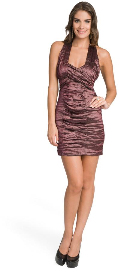 Nicole Miller Plum Metallic Ruched Dress