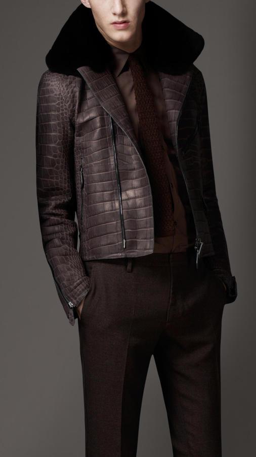 Burberry Fur Collar Crocodile Leather Blouson