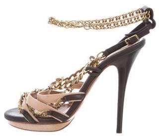 Lanvin Leather Chain-Link Sandals