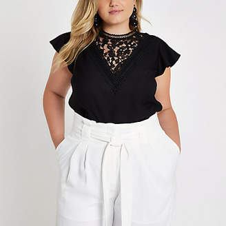 River Island Plus black lace front frill sleeve top