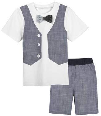 G-Cutee Little Boys White Tee with Chambray Vest and Shorts Outfit Set, Available in Size 4-7