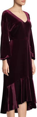 Taylor High-Low Velvet Sheath Dress