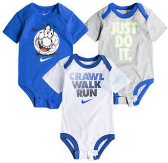 Nike Three-Pack Linear Cotton Bodysuits