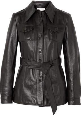 3.1 Phillip Lim Belted Leather Jacket - Dark brown