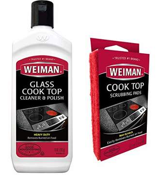 Weiman Ceramic Stove Top Cleaner Kit - Glass Cooktop Heavy Duty Cleaner and Polish [ 10 Ounce Bottle and 3 Scrubbing Pads ]