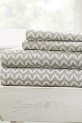 IENJOY HOME The Home Spun Premium Ultra Soft Puffed Chevron Pattern 4-Piece King Bed Sheet Set - Gray