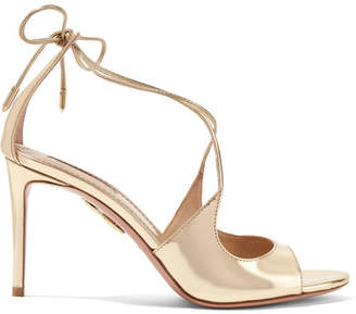 Aquazzura Sofia Metallic Leather Sandals - Gold