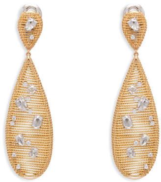 Fratelli Staurino 18k Yellow Gold Renaissance Diamond Pear Drop Earrings