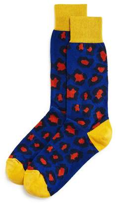 Bloomingdale's The Men's Store at Color-Block Leopard Socks - 100% Exclusive