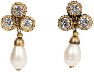 One Kings Lane Vintage Chanel Crystal & Faux-Pearl Earrings