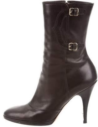 Oscar de la Renta Mid-Calf High-Heel boots