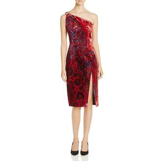 Elie Tahari Womens Carter One Shoulder Knee-Length Cocktail Dress Red