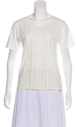 Saint Laurent Lace-Trimmed Scoop Neck T-Shirt