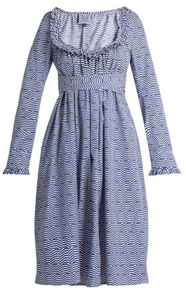 Thierry Colson Geometric Print Cotton Poplin Dress - Womens - Blue White
