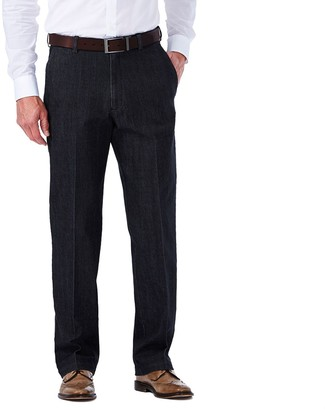 Haggar Men's Flat-Front Expandable Waist Stretch Jeans