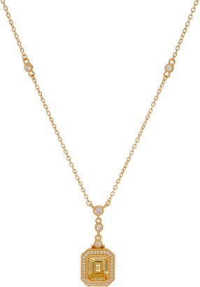 Judith Ripka Sterling or 14K Clad Canary Diamonique Necklace