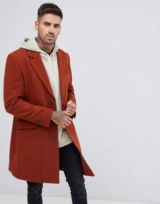Asos DESIGN wool mix overcoat in rust