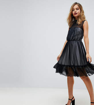 John Zack Petite High Neck Tulle Midi Skater Dress With Contrast Lining