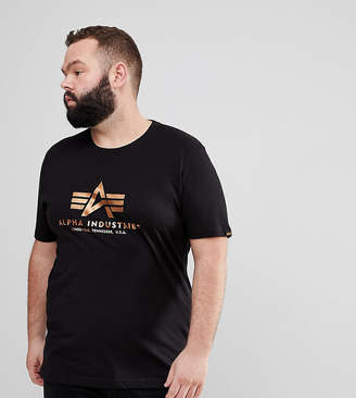 Alpha Industries Gold Foil Print Crew Neck T-Shirt in Black