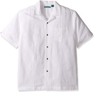 c4031fda Cubavera Cuba Vera Men's Short-Sleeve Dobby Plaid Camp Woven Shirt Shirt