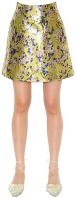 DELPOZO Floral Printed Lurex Mini Skirt