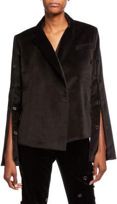Rokh Herringbone-Print Button Front Cotton Jacket