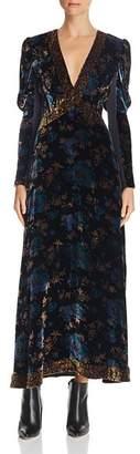 Rebecca Taylor Solstice Floral-Velvet Maxi Dress