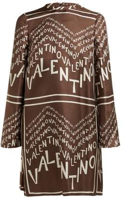 Valentino Chevron Logo Print Silk Satin Dress - Womens - Brown White