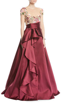 Marchesa 3D Floral Embroidered Ball Gown w/ Cascade