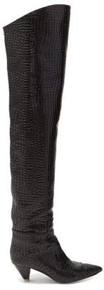 ATTICO The Crocodile Effect Leather Over The Knee Boots - Womens - Black