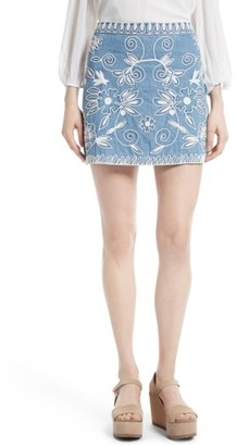 Women's Alice + Olivia Riley Embroidered Chambray Miniskirt $275 thestylecure.com