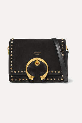 Jimmy Choo Madeline Small Studded Suede Shoulder Bag - Black
