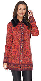 Isaac Mizrahi Live! Tapestry Sweater Coat w/Faux Fur Collar