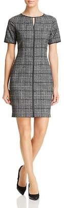 T Tahari Plaid Short-Sleeve Sheath Dress